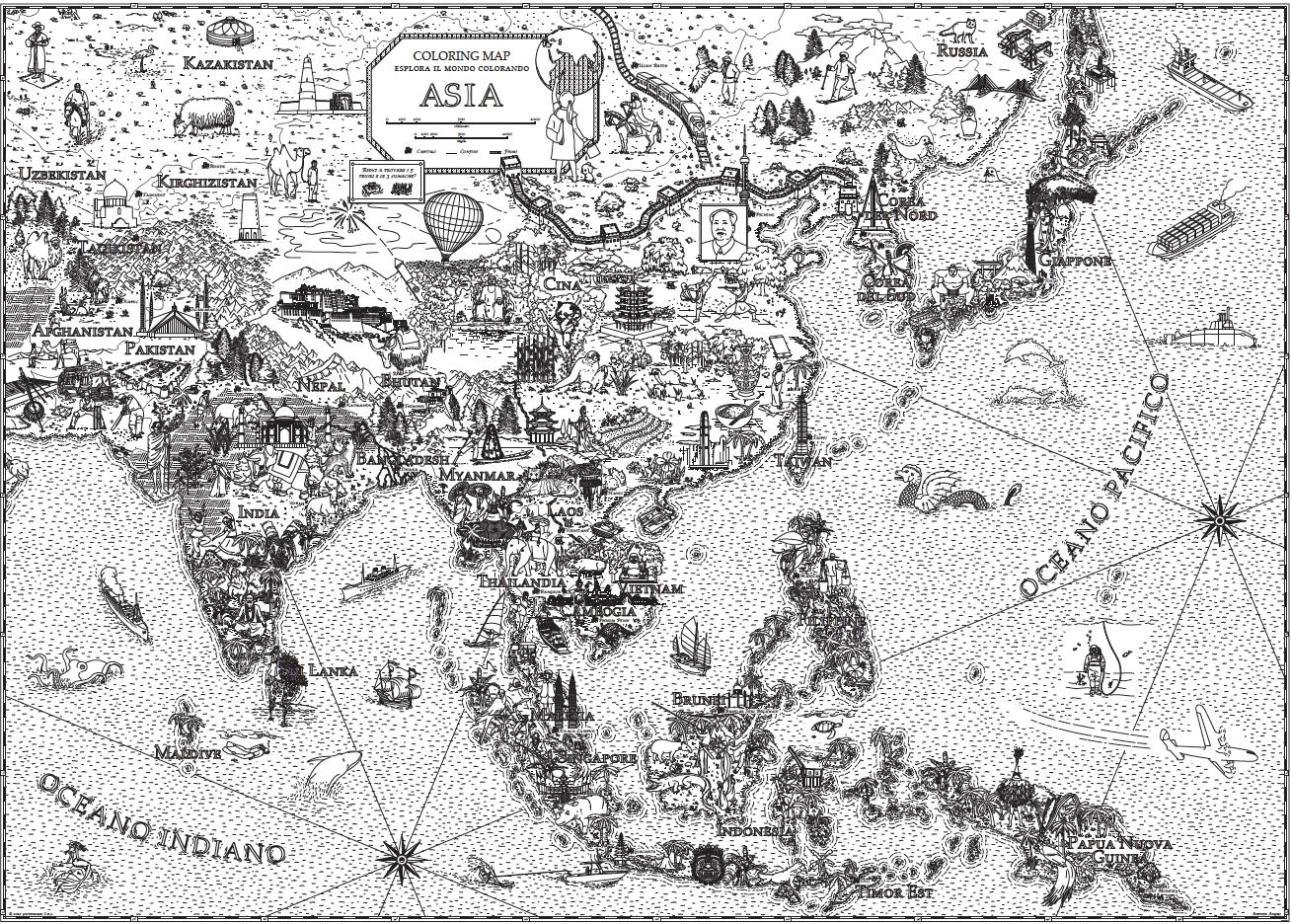 Cartina Asia Da Colorare.Coloring Maps Asia Di Andrea Angeli